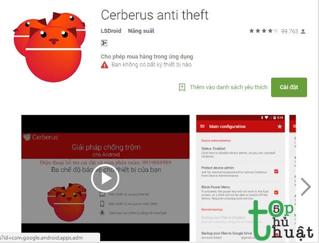 Ứng dụng chống trộm Ceberus Anti Thief