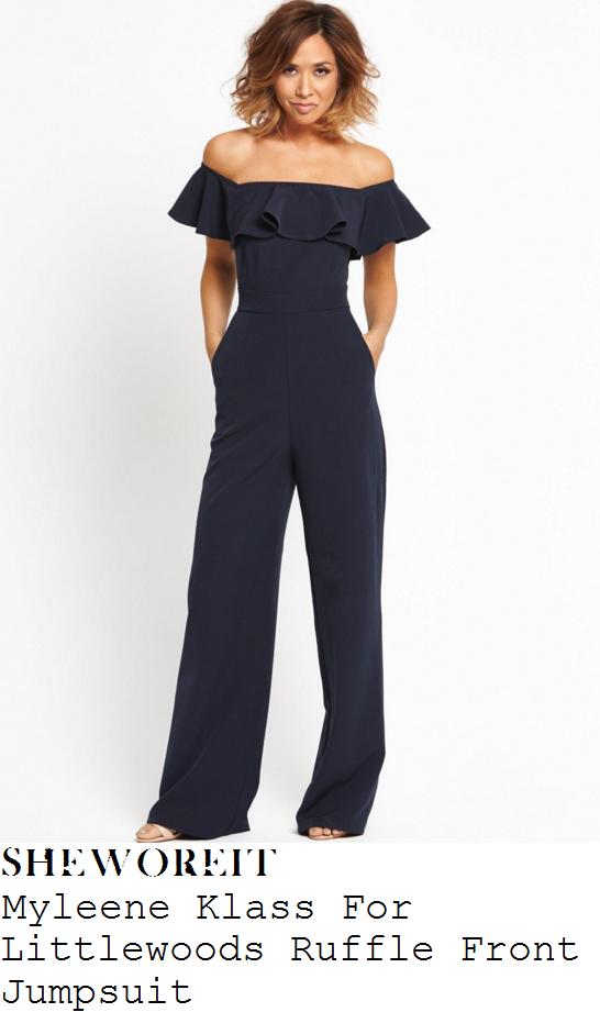 myleene-klass-navy-blue-ruffle-detail-off-the-shoulder-wide-leg-jumpsuit