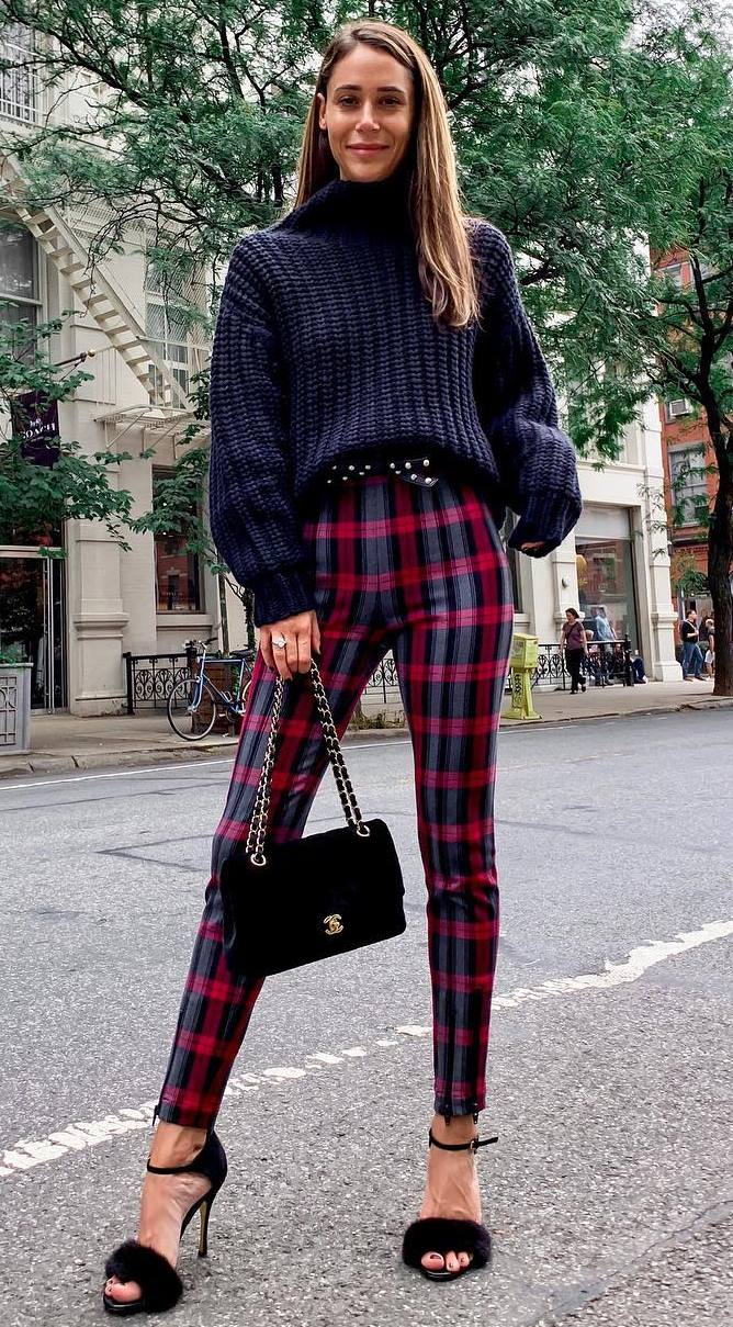 fashionable fall outfit idea / plaid pants + black bag + knit sweater + fur heels