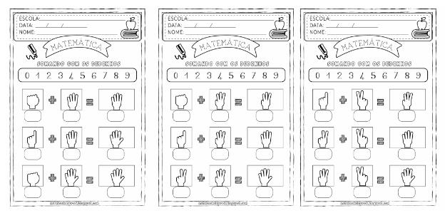 Atividades de Matemática 1º ano com mãozinhas para imprimir. A atividade pedagógica foi feita para que os alunos somem os dedinhos.