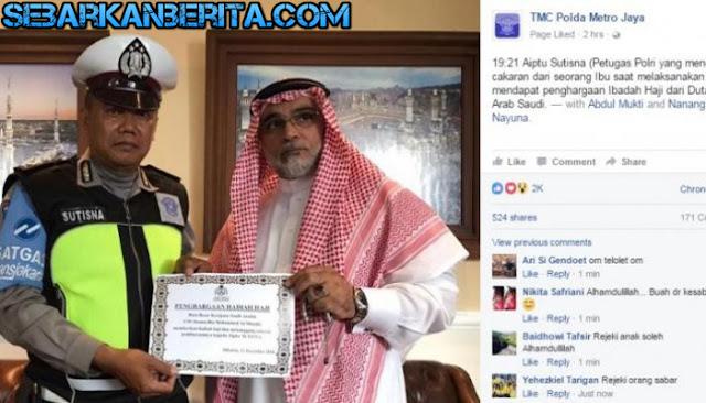 Polantas yang Dipukuli Pegawai MA Dapat Hadiah Naik Haji Gratis Dari Duta Besar Arab Saudi.