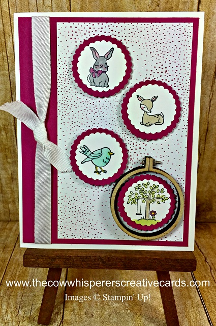 Card, A Good Day, Mini Embroidery Hoops, Stampin Blends