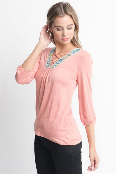 Shop for Pink Cross Front Blouse -Criss Cross Front Floral Trim Elastic Cuff Top on caralase.com
