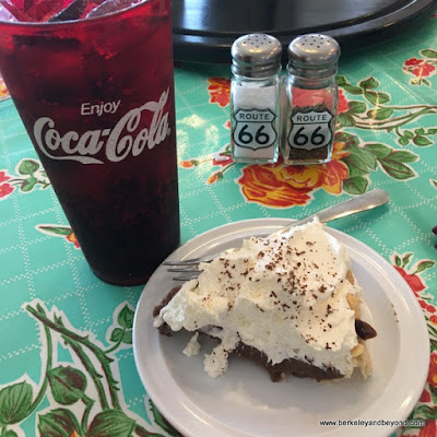 chocolate cream pie at MidPoint Cafe on Route 66 Historic District in Adrian, Texas