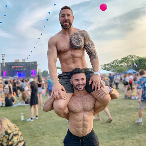 First up, Bremen Menelli and bf Nick (above) are already getting their pride on as WorldPride takes over New York City. Ooh, ooh, I want a ride! Me next! Me next!