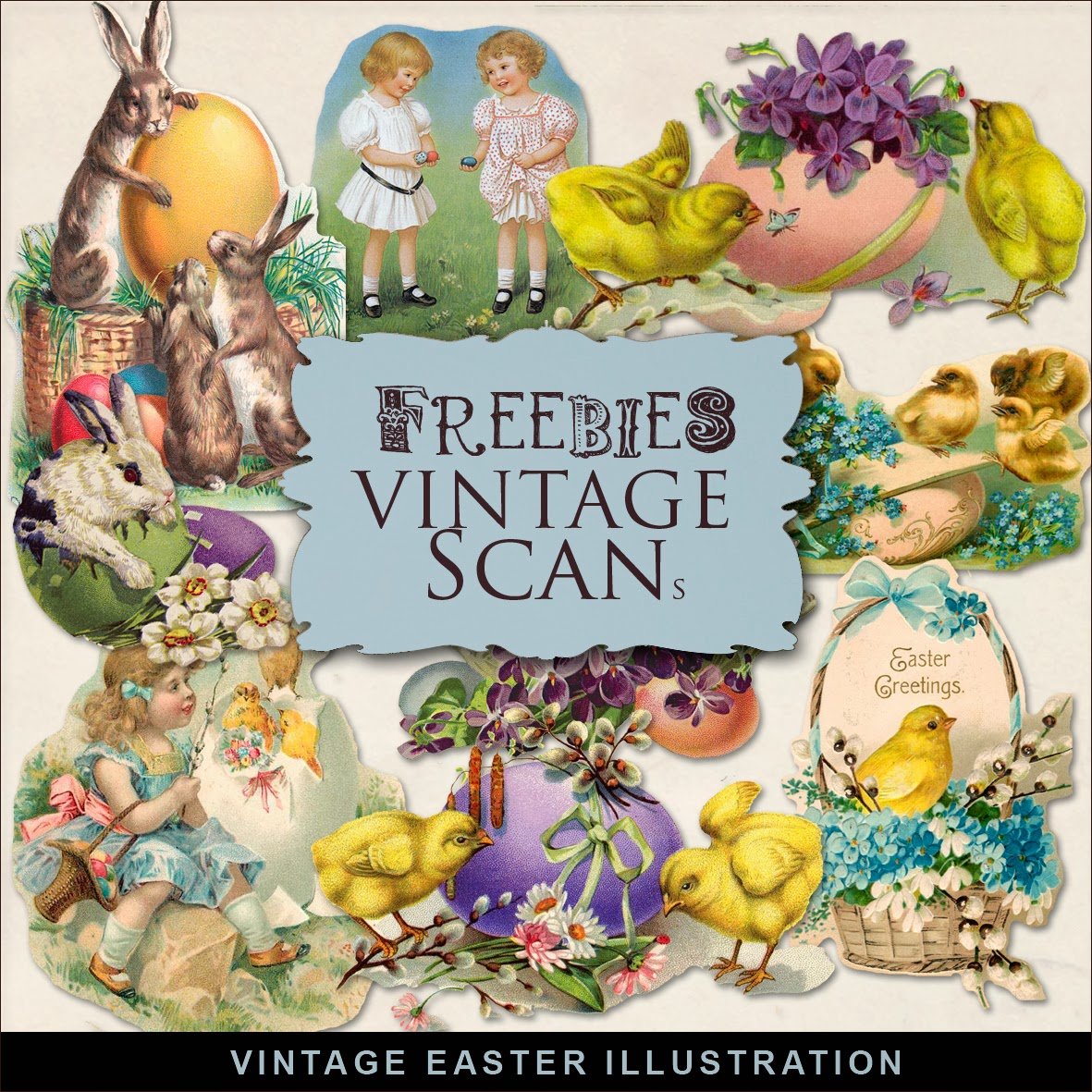 Freebies Kit of Vintage Easter Illustrations