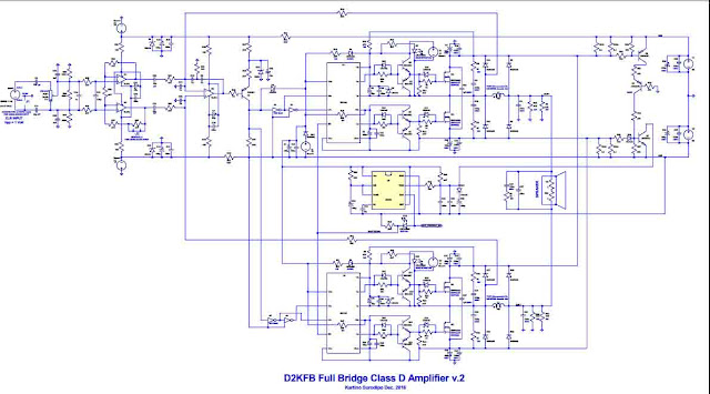 Circuit Schematic of Power Amplifier Class-D Fullbridge D2K 2000Watts