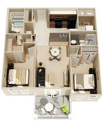 two bedroom 3d house plans with double bathroom open style kitchen
