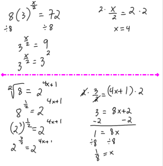 Math 30-2 Summer School 2015: Exponential Equations Notes