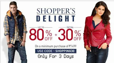 Upto 80% + Flat 30% Additional Off  (Valid on Cart Value of Rs.1499) at Jabong