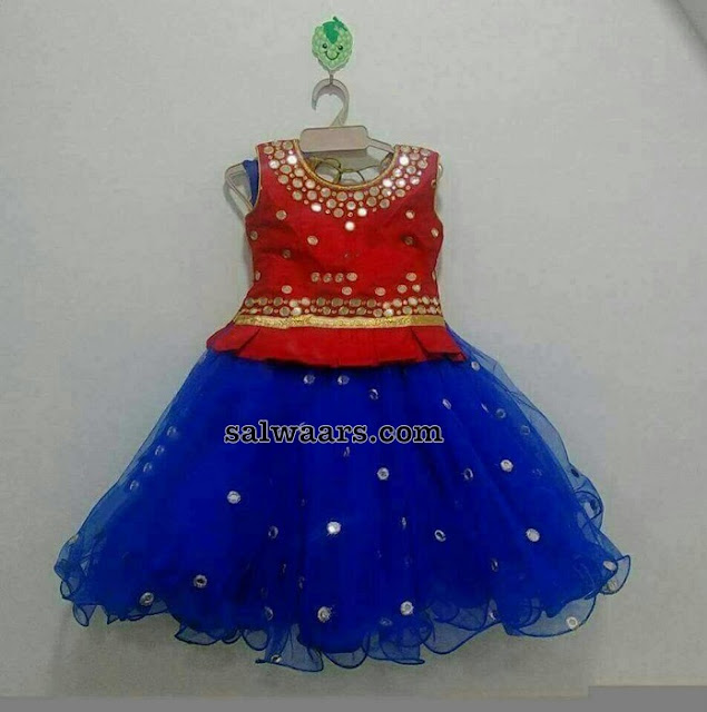 Blue and Red Mirror Lehenga for Kids