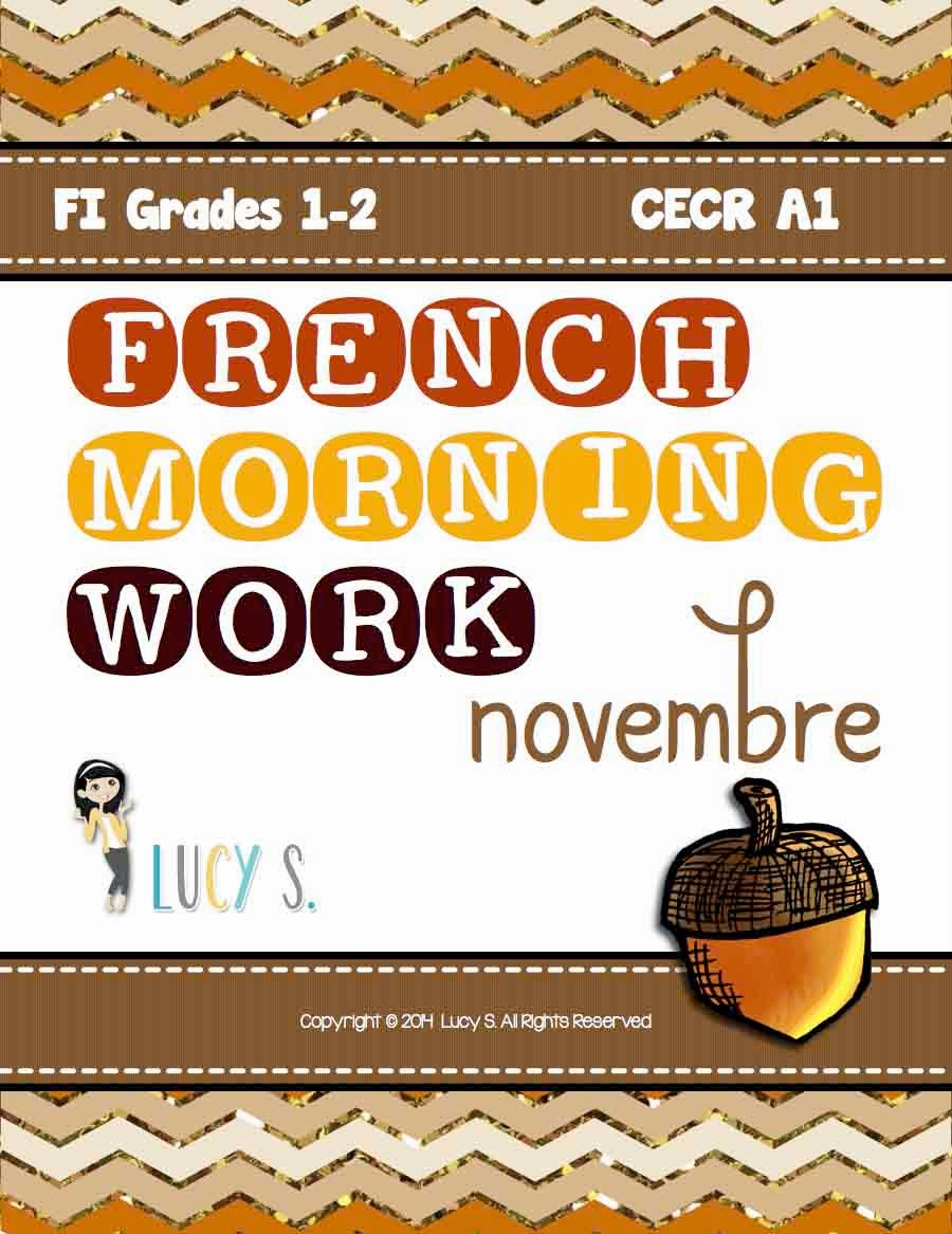 French Language Morning Work NOVEMBRE- 20 worksheets