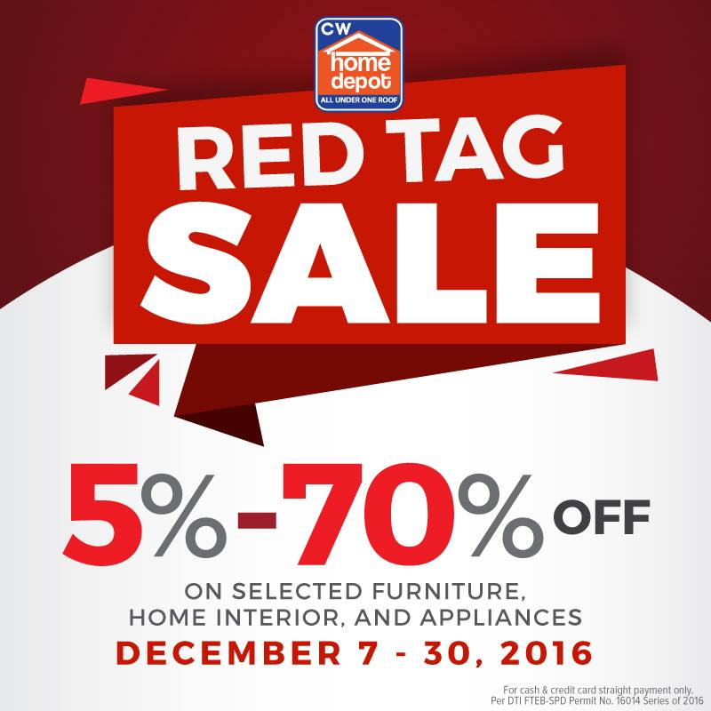 Manila shopper cw home depot red tag sale dec 2016 Cw home depot furnitures