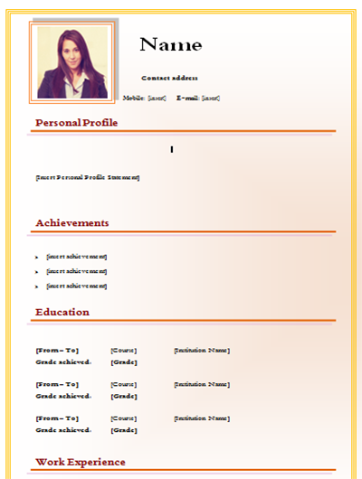 download cv simple style template  word