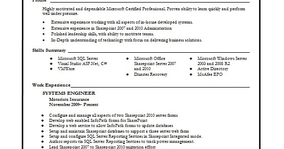 systems engineer resume creative format in word free download