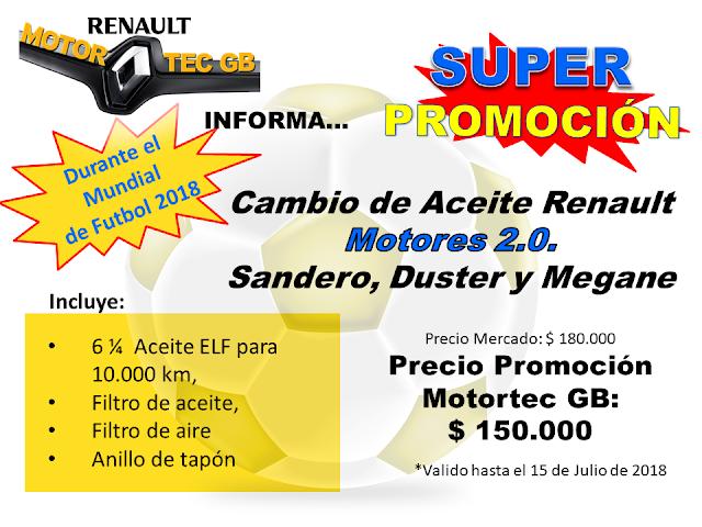 Promocion Cambio de Aceite Renault Motores 2.0