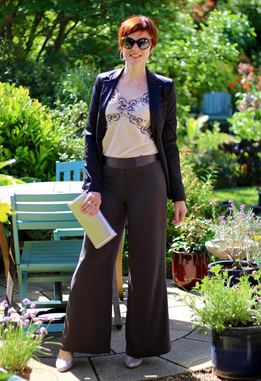 Faking a Luxe Look | Satin wide leg trousers & Metallic shoes