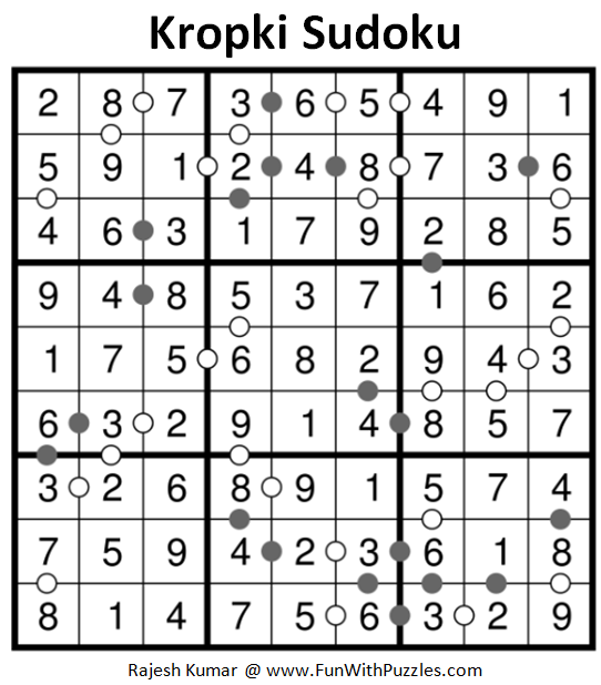 Kropki Sudoku (Fun With Sudoku #213) Solution