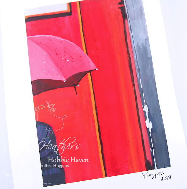 Heather's Hobbie Haven - Gouache Sketchbook - Umbrella Scene