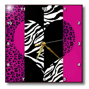 Pink Animal Print Wall Clock by Janna Salak Designs
