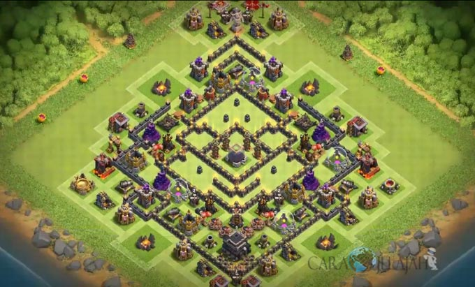 Base Trophy TH 9 COC Update Bomb Tower Terbaru 2017 Tipe 21