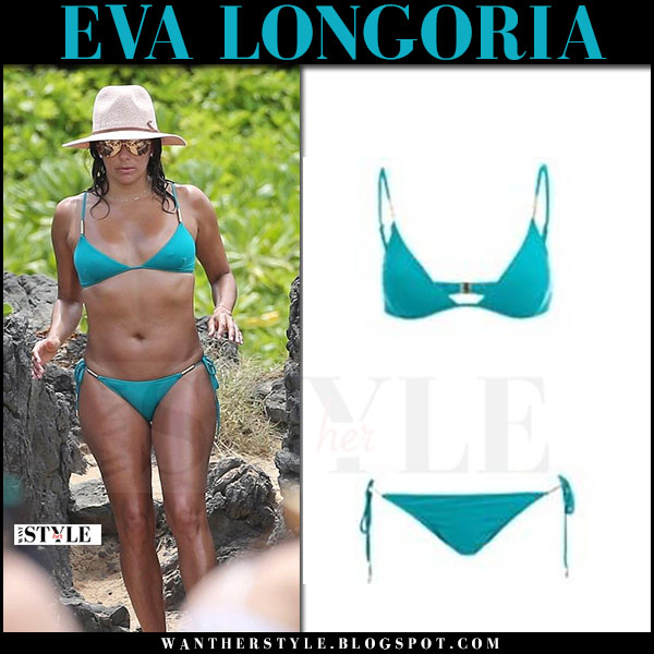Eva Longoria in green bikini melissa odabash what she wore april 2017 hawaii