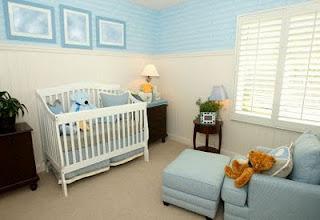 Dormitorio bebé blanco y celeste