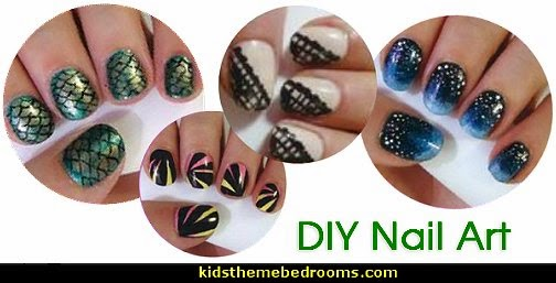 nail art designs-DIY Nail Art-mermaid nails-lace nails-galaxy nails