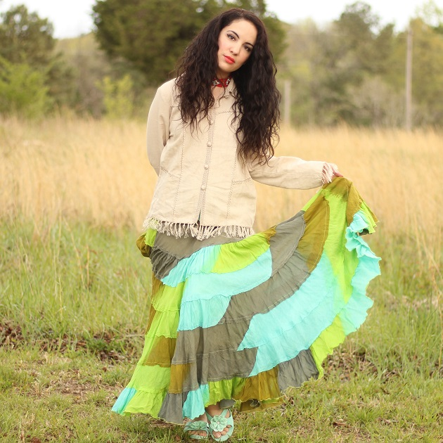 Green Multi-Shade Maxi Skirt
