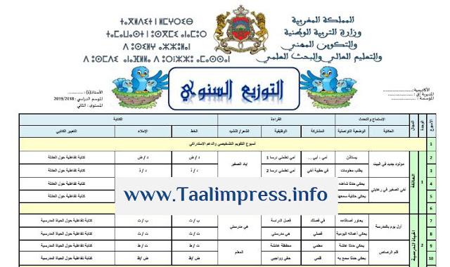 التوزيع السنوي للغة العربية للسنة الثانية ابتدائي مرجع كتابي في اللغة العربية
