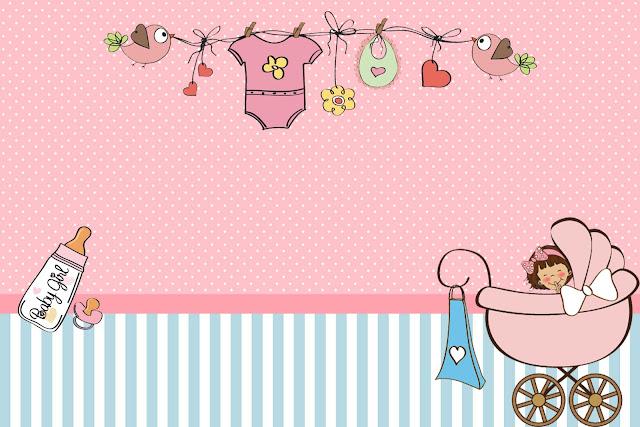Chá De Bebê Ou Chá De Fraldas Menina Kit Completo Com Molduras