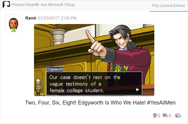 Phoenix Wright Ace Attorney Trials and Tribulations Miles Edgeworth vague testimony female college student
