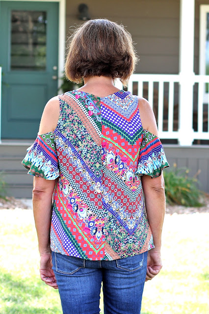 McCall's 7510 cold shoulder top made from a Mood Fabric's print - back view