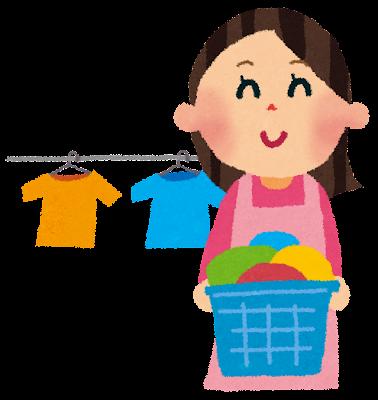 洗濯のイラスト「洗濯カゴ・お母さん」