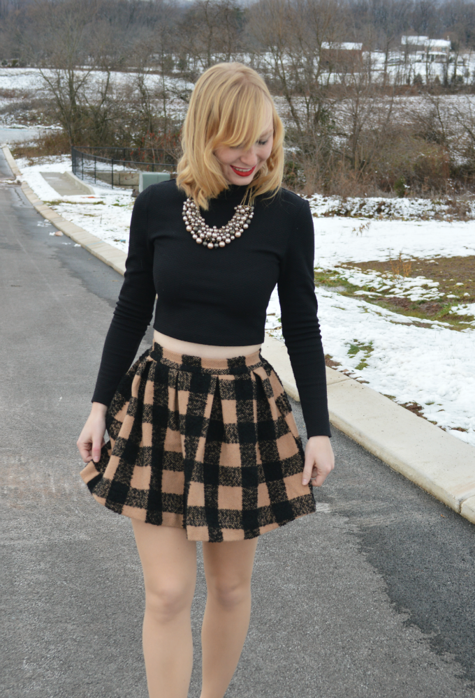 A Plaid Mini + Crop Top | Organized Mess