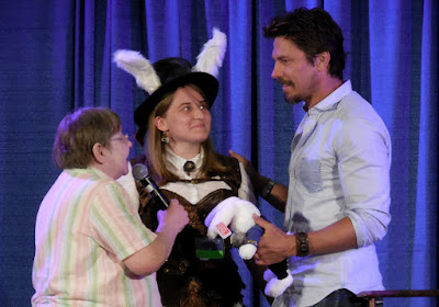 "Michael Trucco receives his Shore Leave ""bunny"" at the end of his talk"