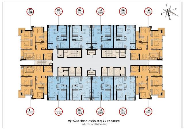Mặt bằng thiết kế tầng căn hộ điển hình tòa I4