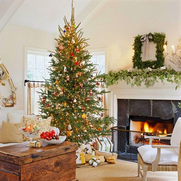 sala chimenea navidad