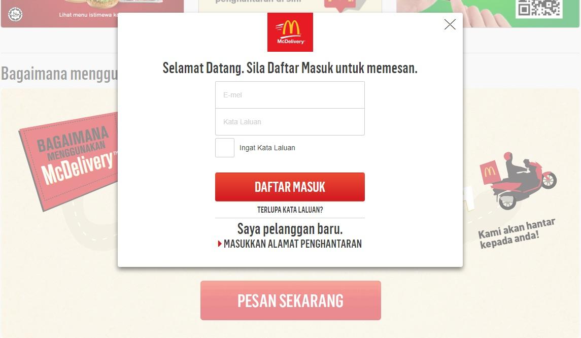 Mcdelivery Order Secara Online