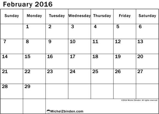February 2016 Calendar   Printable Calendar 2016, 2017