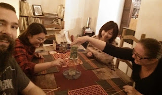 Playing kerplunk! and laughing a lot