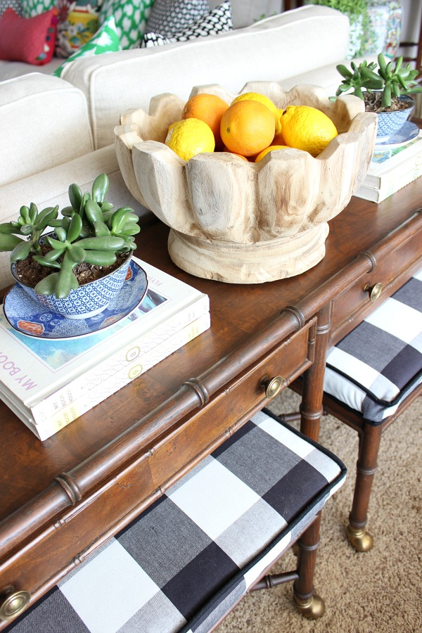 scalloped wood bowl, succulents, blue and white, spring home tour, bamboo console table, black and white buffalo check