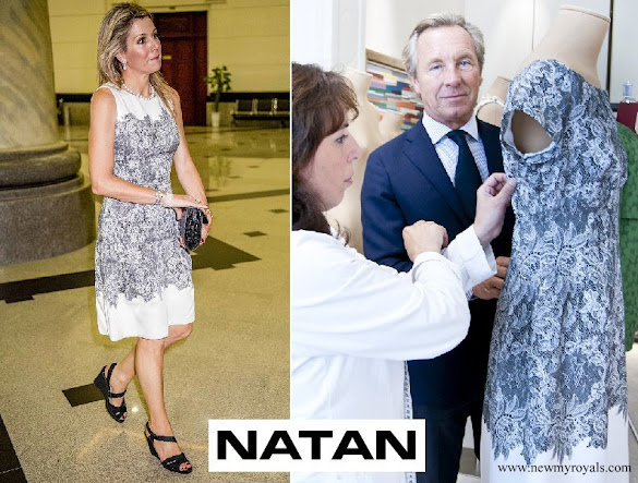 Queen Maxima wore an dress designed by Edouard Vermeulen of Natan