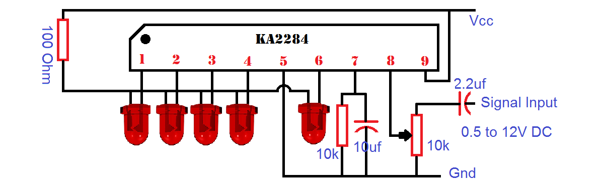 Ka2284 Based Audio Level Indicator Circuit Will Use Battery Level Indicator