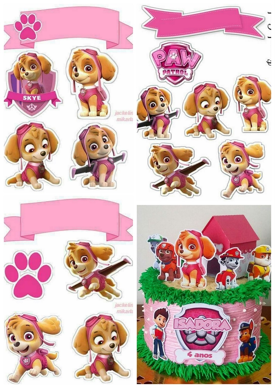 Skye Of Paw Patrol Free Printable Cake Toppers Oh My