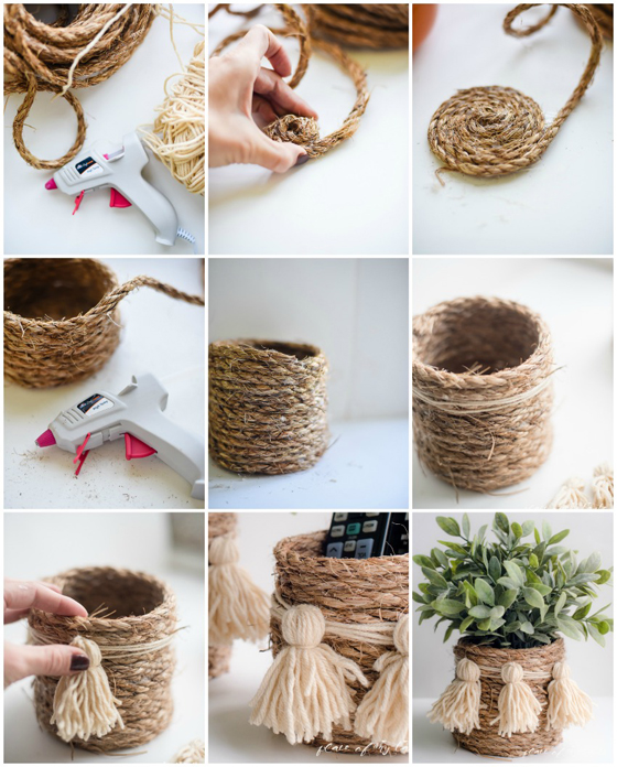 Manualidades con cuerda o hilo r stico - Decorar macetas con arpillera ...