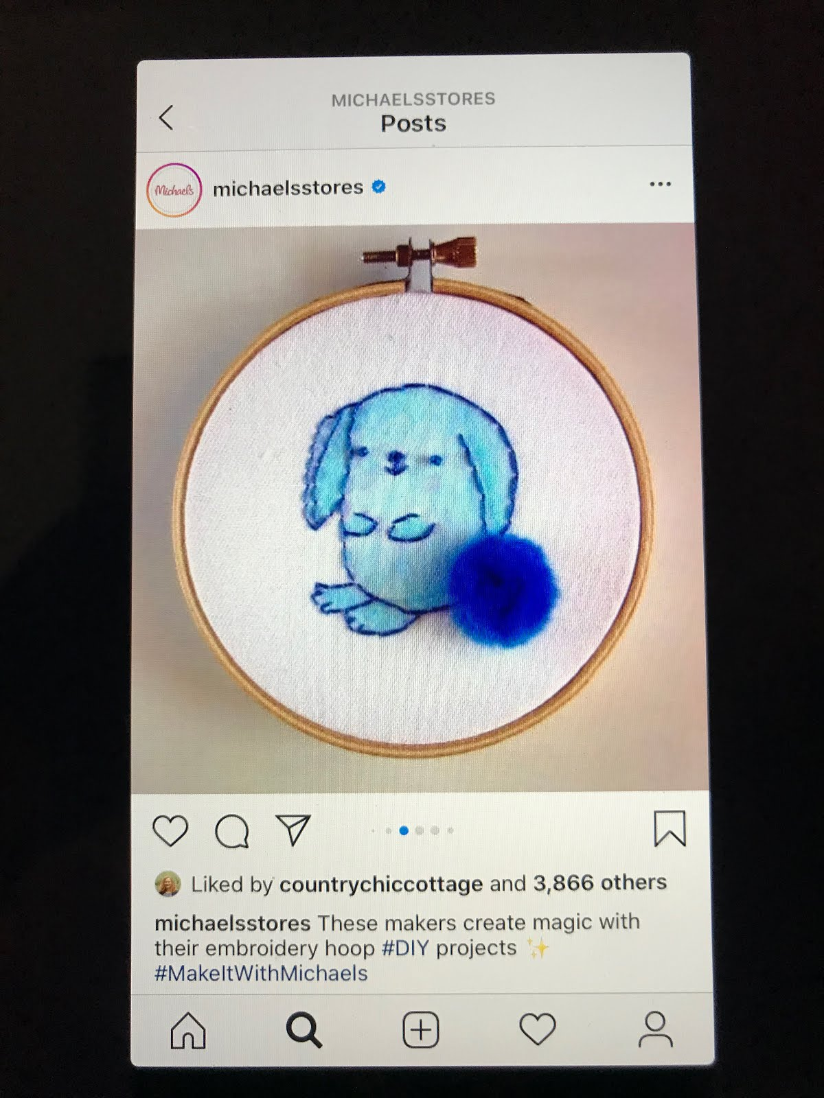 My blue bunny embroidery is part of the sewing hoop roster on the Michaels Instagram feed!