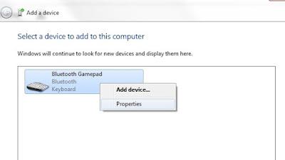 Setelah BT (blutooth) pada PC berhasil mendeteksi BT ipega (biasanya terdeteksi sebagai Bluetooth Gamepad), Klik kanan Property