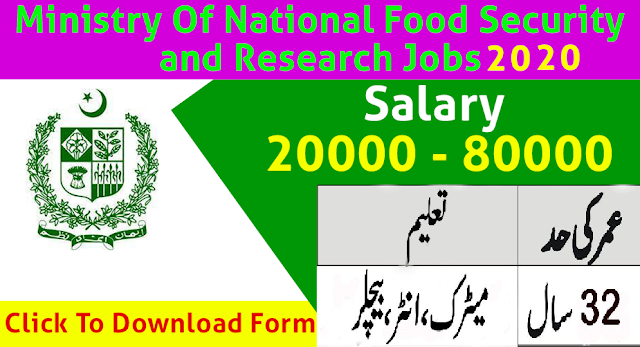 Ministry of National Food Security & Research Jobs 2020 Apply Now