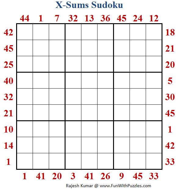 X Sums Sudoku (Fun With Sudoku #217)